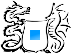Coat of arms: argent a square azure, supported by                            chinese dragon sable and seahorse sable.                           Drawn in a modern tattoo-like style.